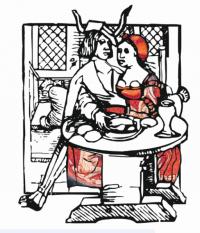 Moenen en Mariken.Houtsnede uit 1518.